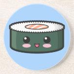 Sushi saumonés heureux dessous de verre