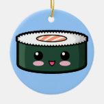 Sushi saumonés heureux décorations pour sapins de noël