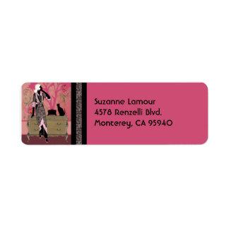 Suzanne dans rose et Tan - étiquettes de adresse Étiquette D'adresse Retour