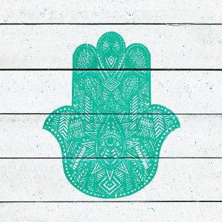 Hip Turquoise Hamsa Hand Henna Pattern Wood Stripe