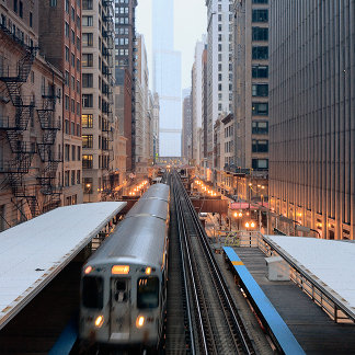 Elevated rail in downtown Chicago over Wabash