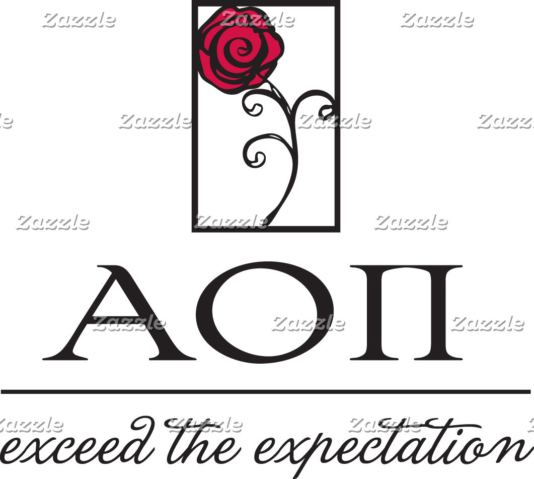 Alpha Omicron Pi Rose and Letters