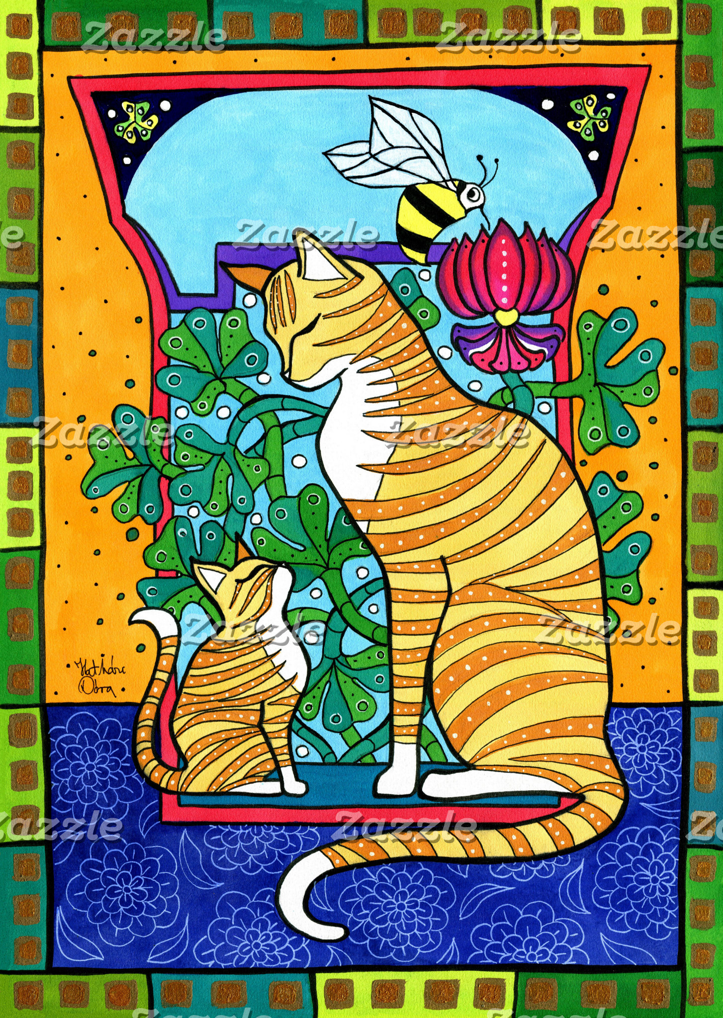 Cat Art - Ginger Love