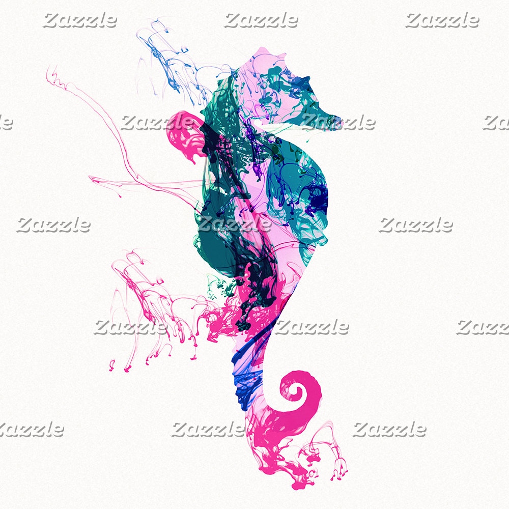 Colorful Watercolor Sea horse Pink Blue Splatters