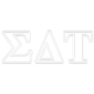 Sigma Delta Tau White and Blue Letters