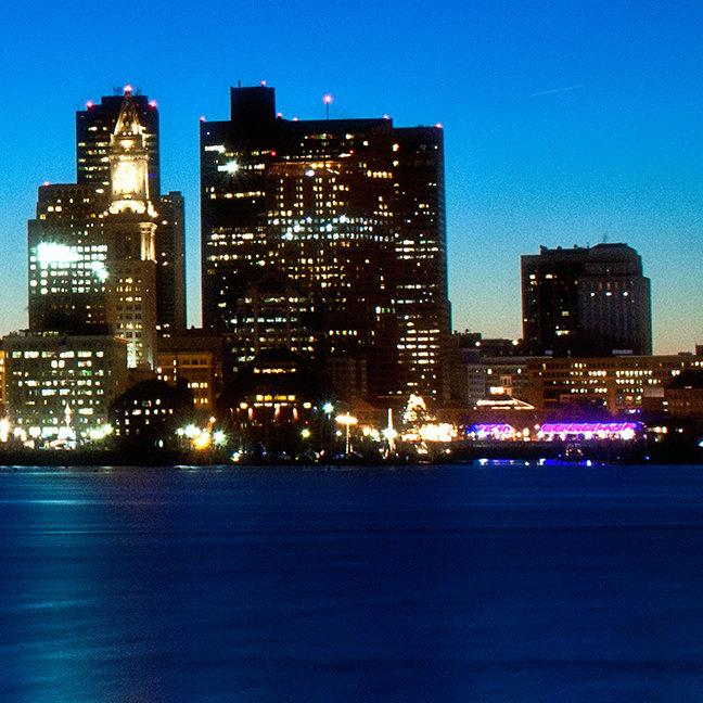 Boston skyline with moon