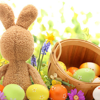 Easter Decoration with Rabbit and Eggs