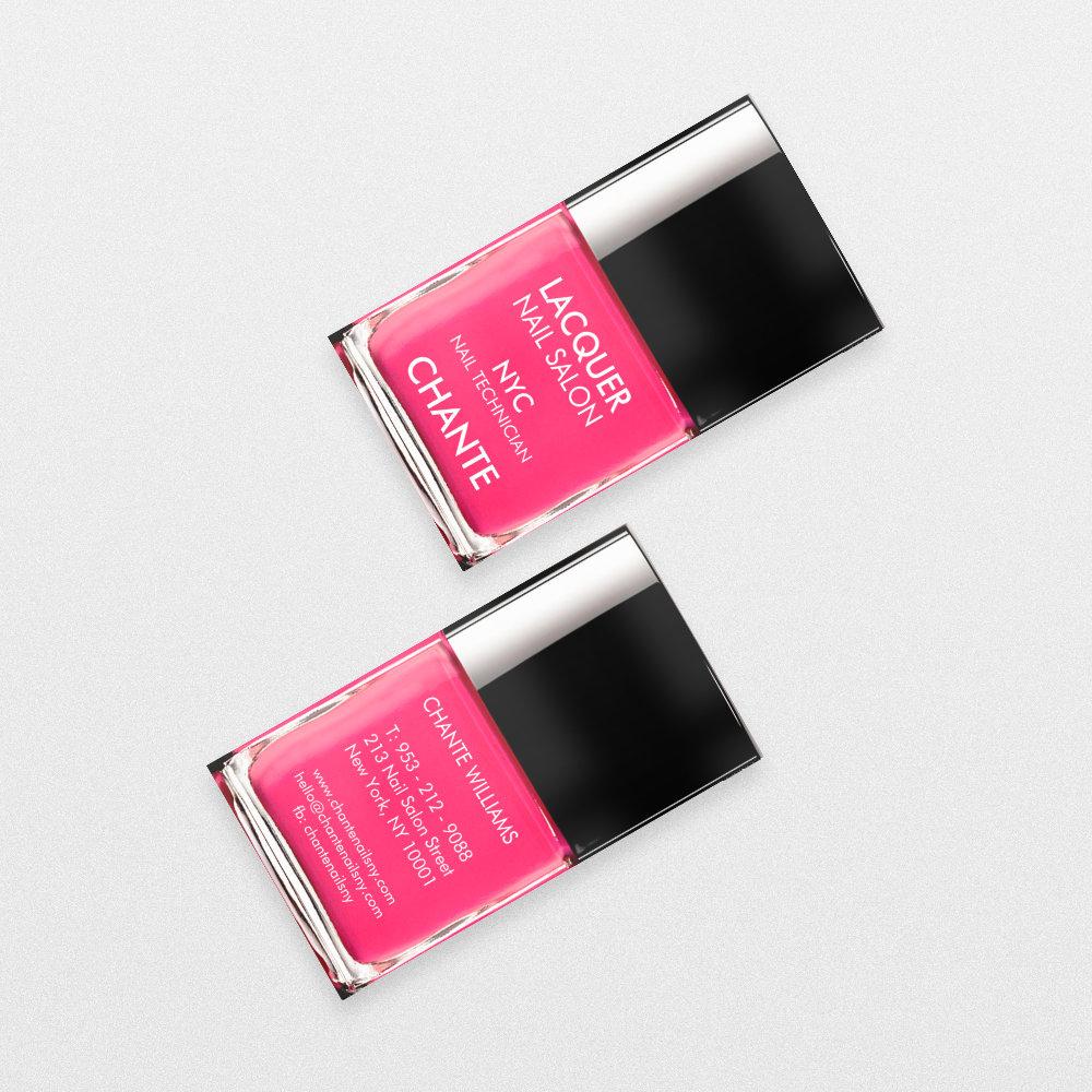 Modern stylish trendy neon pink nail polish chic