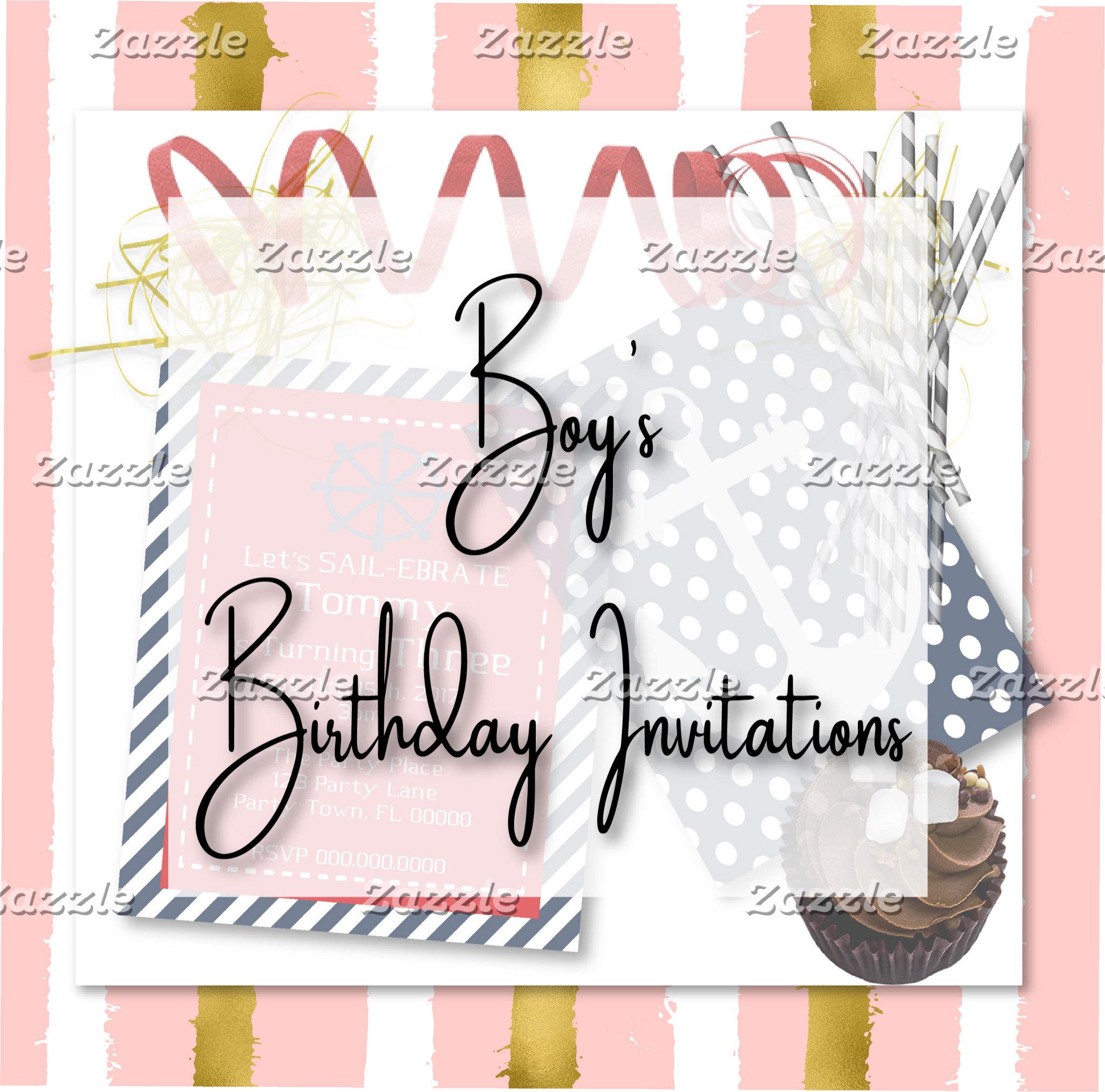 Boy's Birthday Invitations