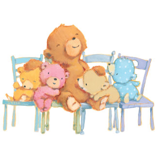 Five Cuddly and Colorful Bears On Chairs