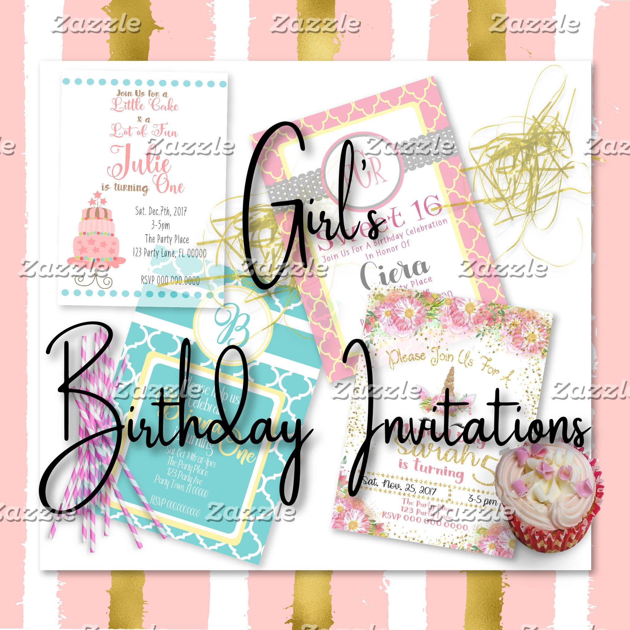 Girl's Birthday Invitations
