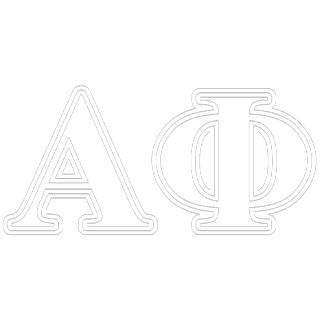 Alpha Phi White and Silver Letters
