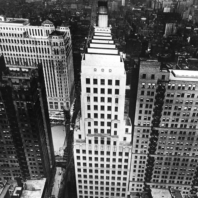 1960:  An aerial view of a Chicago skyscraper