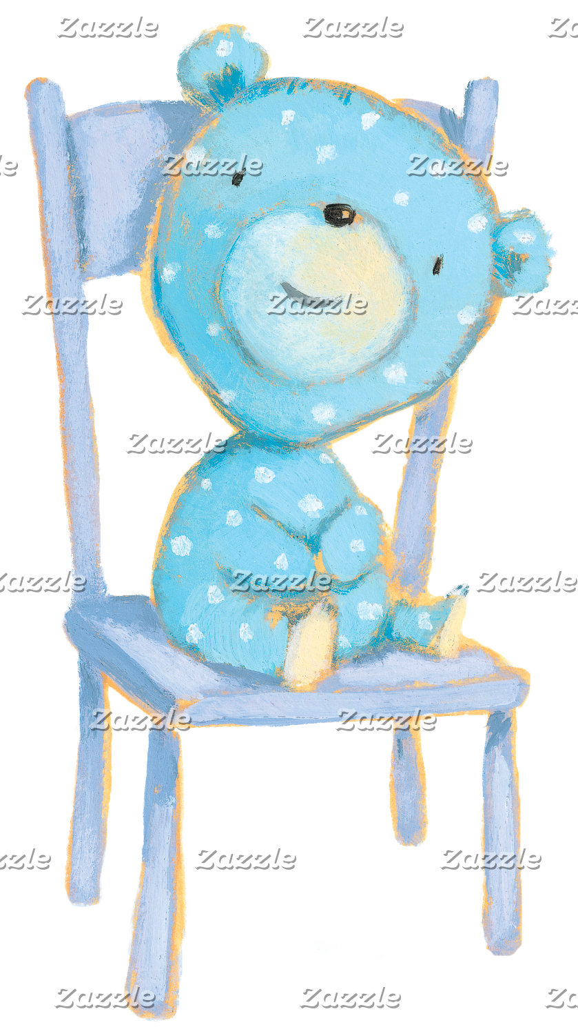 Blue Calico Bear Smiling on Chair