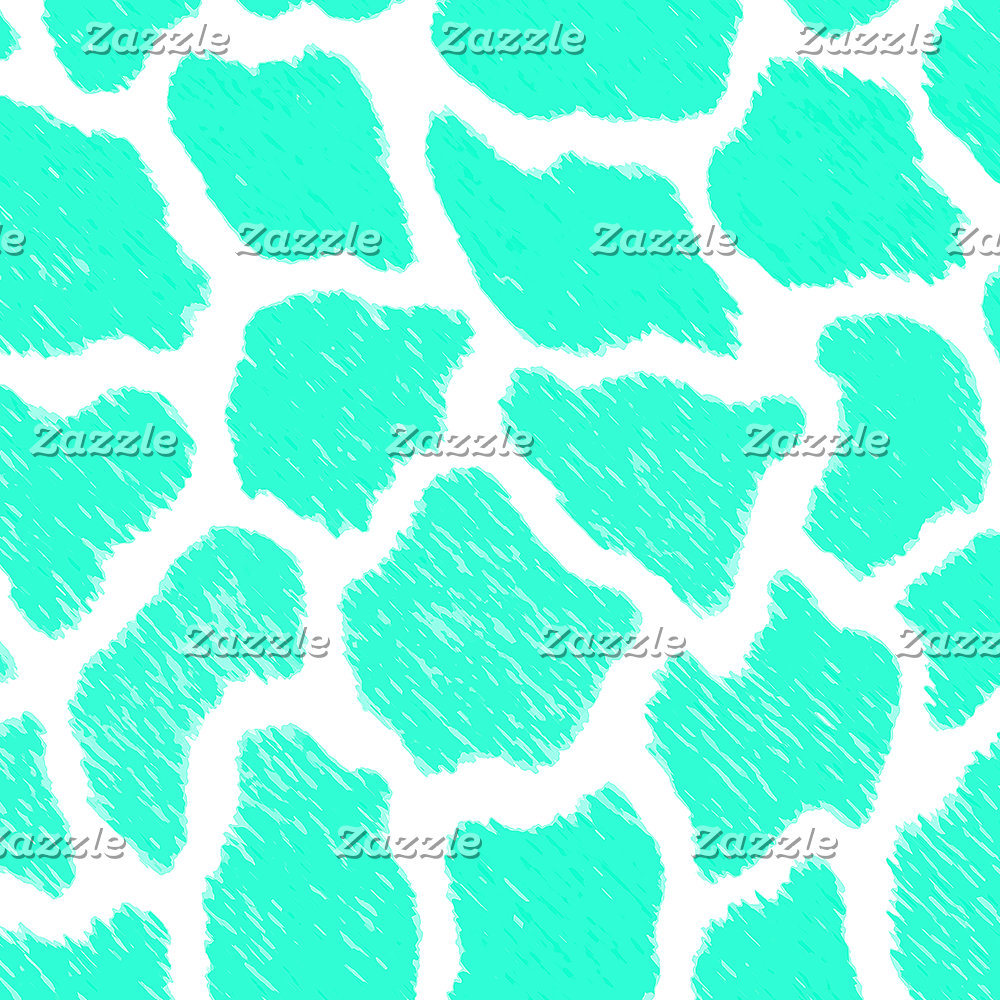 Giraffe Print Pattern Teal Mint Green Ombre