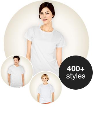 Créez vôtre propre t-shirt avec images, photos et texte parmi plus de 400 modèles