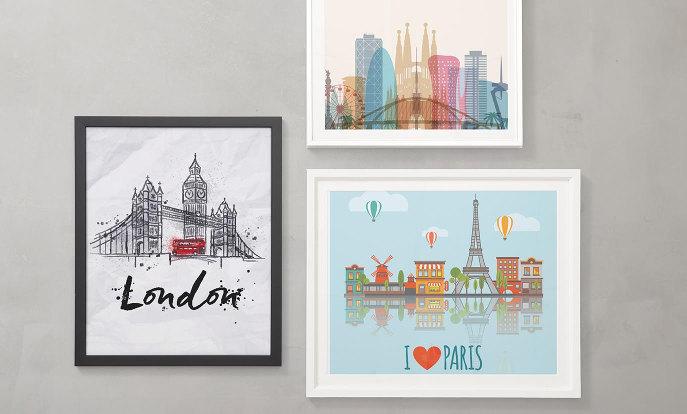 Posters de villes à l'horizon
