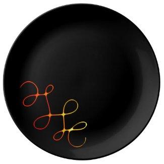 Assiette en porcelaine noire,