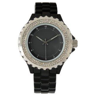 Montre classique en strass pour femme avec bracelet noir en alliage d'émail