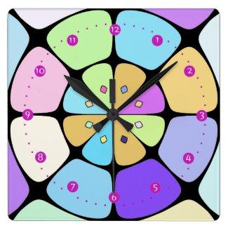 """Horloge murale carrée """"Fleur stylisée Pop Art"""""""