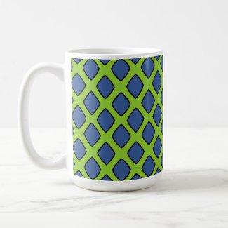 Mug grand modèle vert clair & gros losanges bleus