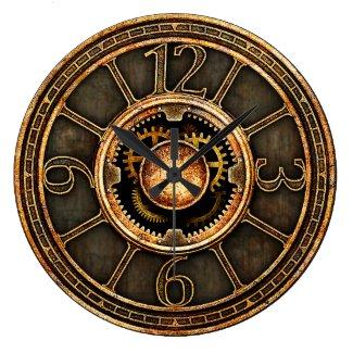 Horloge murale ronde, grand modèle, Steampunk vintage v2