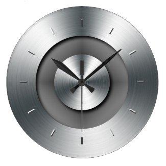 Horloge murale ronde élégante, faux métal réaliste
