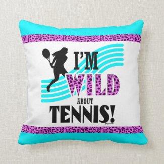 Coussin décoratif carré, I'm Wild about Tennis