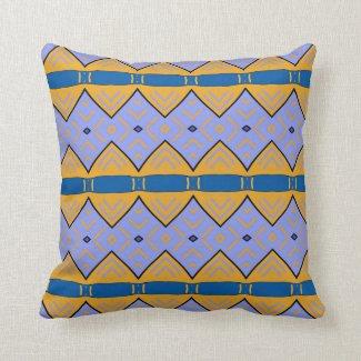 """Coussin déco jaune et bleu clair, motif """"Tribal"""""""