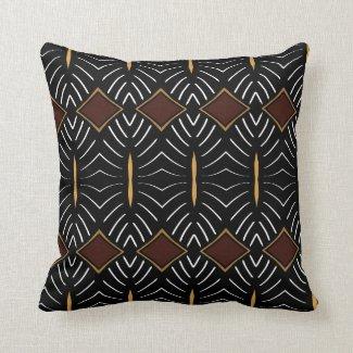 """Coussin décoratif noir à losanges, motif """"Tribal"""""""