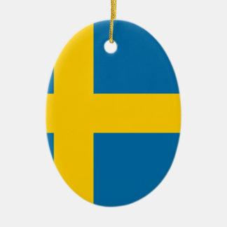 Sveriges Flagga - drapeau de la Suède - drapeau Ornement Ovale En Céramique