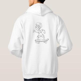 Sweat à capuche logo et alien skateur blanc