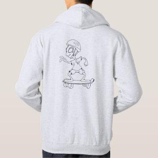 Sweat à capuche logo et alien skateur gris clair