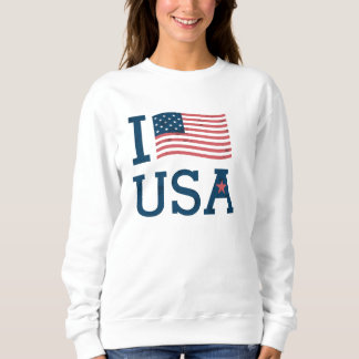 Sweat Femme Blanc Basic I Love USA