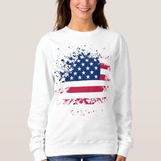 Sweat Femme Blanc Basic USA Flag