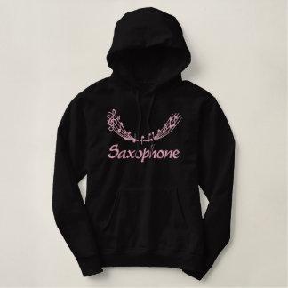 Sweat - shirt à capuche assez rose de saxophone de sweatshirt à capuche