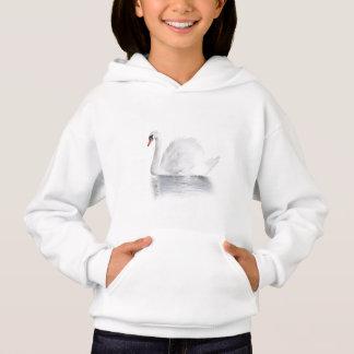 Sweat - shirt à capuche blanc de lumière de cygne