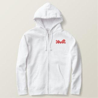 Sweat - shirt à capuche brodé par XWP blanc/rouge Sweats Avec Capuche