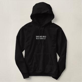 Sweat - shirt à capuche de ceinture noire du sweatshirt à capuche avec broderie