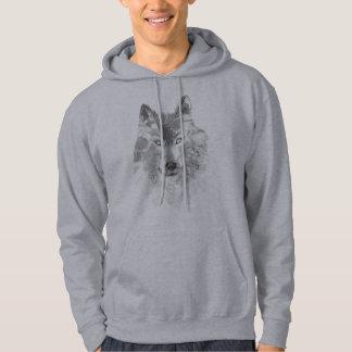 Sweat - shirt à capuche de loup gris d'aquarelle