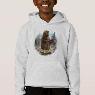 Sweat - shirt à capuche d'ours gris