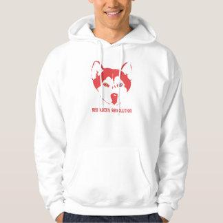 Sweat - shirt à capuche enroué rouge de blanc de