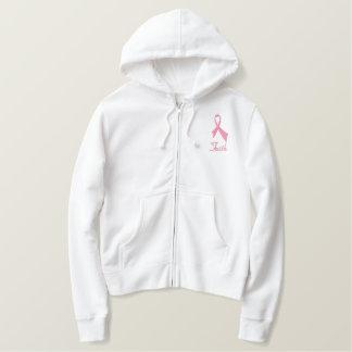 Sweat - shirt à capuche rose de fermeture éclair sweatshirt à capuche avec broderie