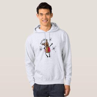 Sweat - shirt à capuche tamponnant de renne de