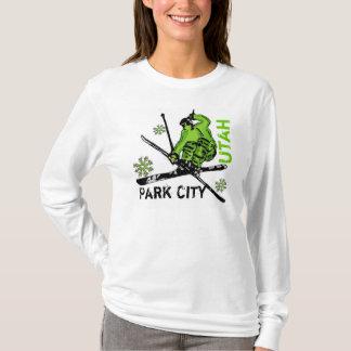 Sweat - shirt à capuche vert de dames de skieur de