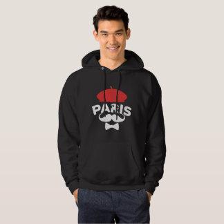 Sweat-Shirt Noir à Capuche Paris Béret Rouge Veste À Capuche