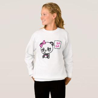 Sweat shirt rosâtre de filles de panda