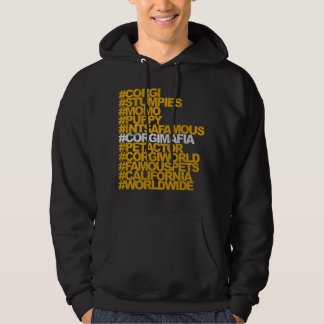 Sweatshirt à capuchon de Hashtags de corgi
