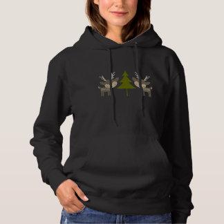 Sweatshirt à capuchon de Noël gris de renne
