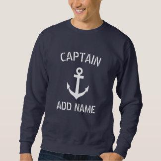 Sweatshirt Ancre nautique faite sur commande de bleu marine